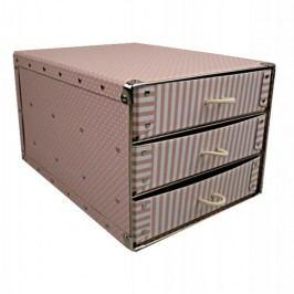 Kazeto Box se třemi zásuvkami růžový 25x33,5x20cm