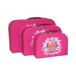 Kazeto Kufřík dětský růžový příšerky set 3ks 20x15x8,5cm 25x18x9cm 30x21x9,5cm
