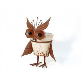 Květník sova keramika kov