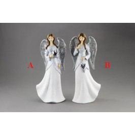 Anděl bílý polyresin 16x10x36cm Provedení: A