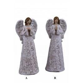 Anděl stříbro-bílý 10x26x7cm Provedení: B