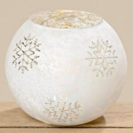 Svícen koule bílá lakované sklo Rozměry: 16x18cm