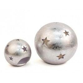 Svícen koule stříbrný keramika Rozměry: 30cm