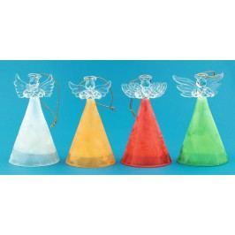 Anděl skleněný s barevnou sukní sada 10cm