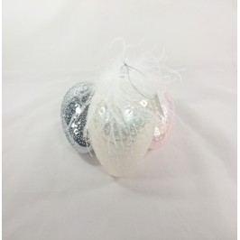 Skleněné vejce s peříčky bílé Provedení: A