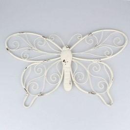 Dekorace na zeď motýl z kovu bílý Velikost: větší