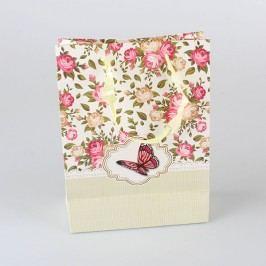 Papírová taška růžový motýl 12ks Velikost: velká