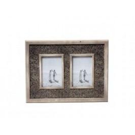 Hnědý fotorámeček s ornamenty na dvě fotky 38x29cm