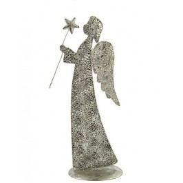Anděl kovová soška Amarra Barva: stříbrná, Provedení: Menší