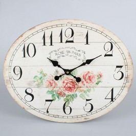 Nástěnné oválné hodiny růže 39x49x2cm