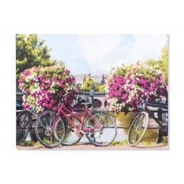 Obraz Kola s květinami 100x75x4cm