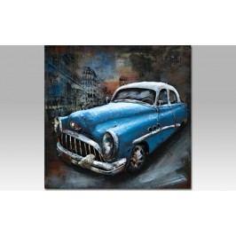 Obraz ručně malovaný | kovový | modré auto
