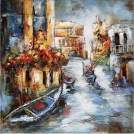 Obraz ručně malovaný | kovový | gondola