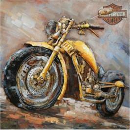 Obraz ručně malovaný | kovový | žlutá motorka
