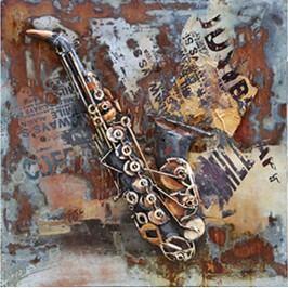 Obraz ručně malovaný | kovový |  saxofon