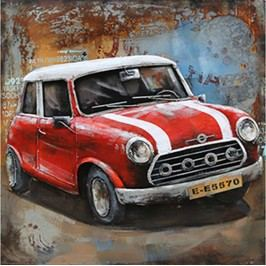Obraz ručně malovaný | kovový | Mini Cooper