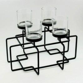 KA Svícen kov sklo černý 35x26x27cm