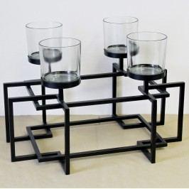 KA Svícen kov sklo černý 56x37x38cm