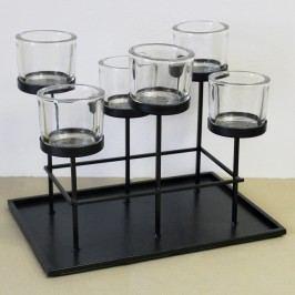 KA Svícen kov sklo černý 38x27x30cm