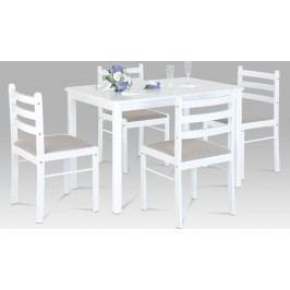 Autronic Jídelní set | stůl 114x70cm | 4ks židle | bílá barva AUAUT-6060 WT