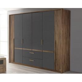 Bernau, 226 cm, dub stirling/šedá, otočné dveře