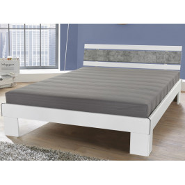 Rhone 140x200 cm, bílá/šedý beton