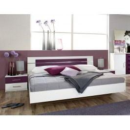 Bílá manželská postel BURANO 180x200 chromová lesk