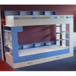 Dětská modrá dětská patrová postel KOMI KM14 90x200 jasanová