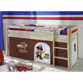 Hnědá dětská patrová postel PIRAT 60950