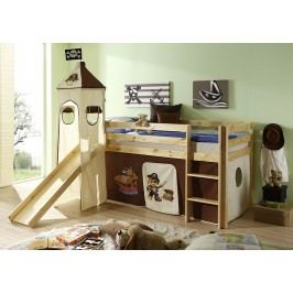 Hnědá dětská patrová postel PIRAT 65802