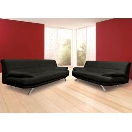 Elegantní černá sedací souprava BRUNO 3-2 chromová lesk