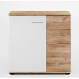 Moderní bílá komoda NORA 723-710 dekor dub