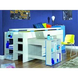 Dětská modrá dětská patrová postel KOMI KM16 90x200 jasanová s úložným prostorem