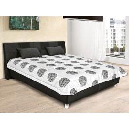 Komfortní černá manželská postel NICE 160x200 ekokůže