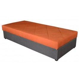Praktická oranžová jednolůžková postel ORMEA 88x202 s úložným prostorem