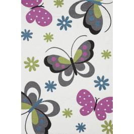 Diamond 120x170 cm, motiv motýlů, krémový