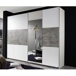 Prenzlau, 218 cm, bílá/šedý beton