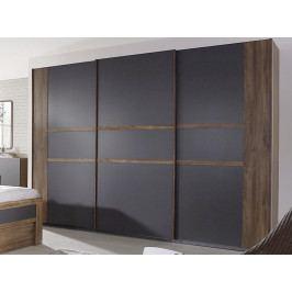 Bernau, 271 cm, dub stirling/šedá, posuvné dveře