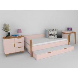 Sestava nábytku do dětského pokoje buk masiv/růžová