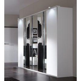 5-dílná šatní skříň se zrcadly DAVOS alpská bílá
