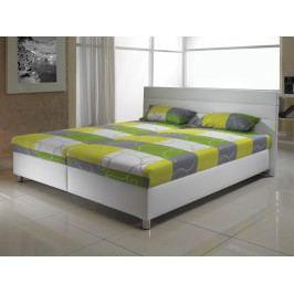 Moderní manželská postel D1 bílá ekokůže/matrace MANA