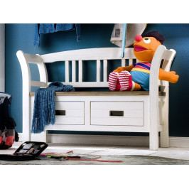 Bílá dřevěná lavice do předsíně GOMERA T81