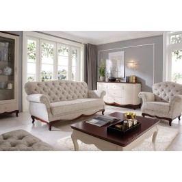 Stylová sestava nábytku do obývacího pokoje MILANO 1 bílý lesk/ořech