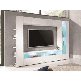 Moderní televizní stěna MALAGA bílý lesk