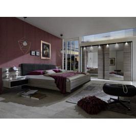 Moderní ložnicová sestava z lamina CORONA dub truefel/černá
