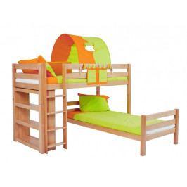 Patrová postel do dětského pokoje EMIL 200x90  buk masiv přírodní