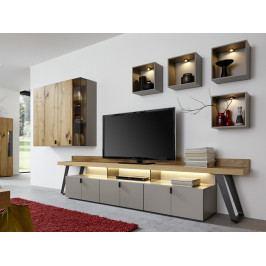 Obývací stěna NOLA dub medový/lak fango