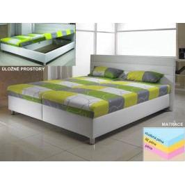 VÝPRODEJ: Moderní manželská postel D1 bílá ekokůže/matrace MANA
