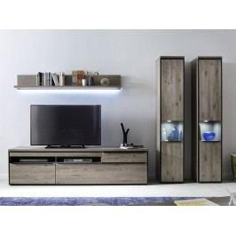 Nábytek do obývacího pokoje z masivu AVIGNON III dub sukatý/šedá
