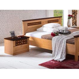 Noční stolek z borovicového masivu ROMANTIKA jantar/ořech